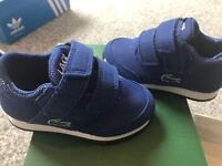 Infant boys size 3 Lacoste trainers. Worn once. Not walked on
