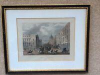 "Vintage ENGRAVING ""General Post Office St. Martins le Grand"" Framed Matted W/Glass"