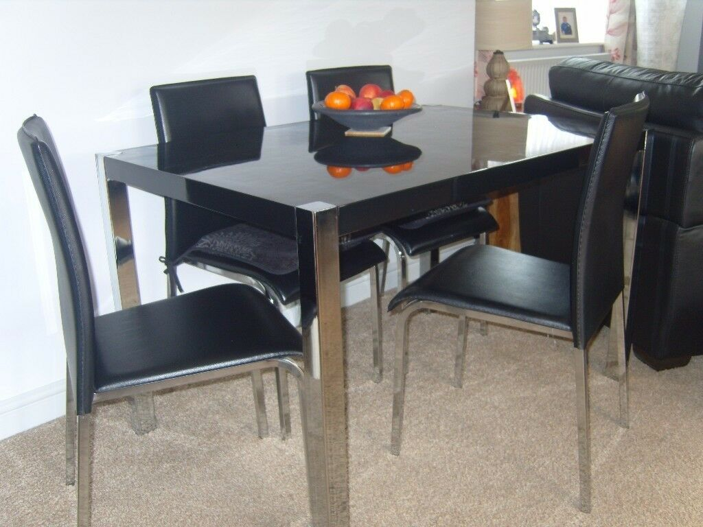 Black Glass Top Dining Table Chrome Legs And 4 Chairs