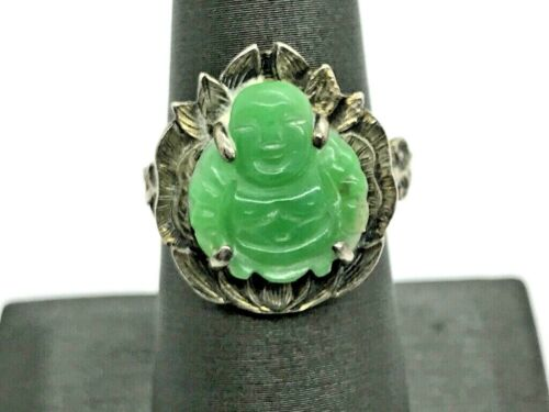 Antique Chinese Export Silver Jade Jadeite Carved Buddha Ring (TS)