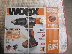 Worx WX373.2 Brushless drill, hard case ,2 batteries ,new sealed box