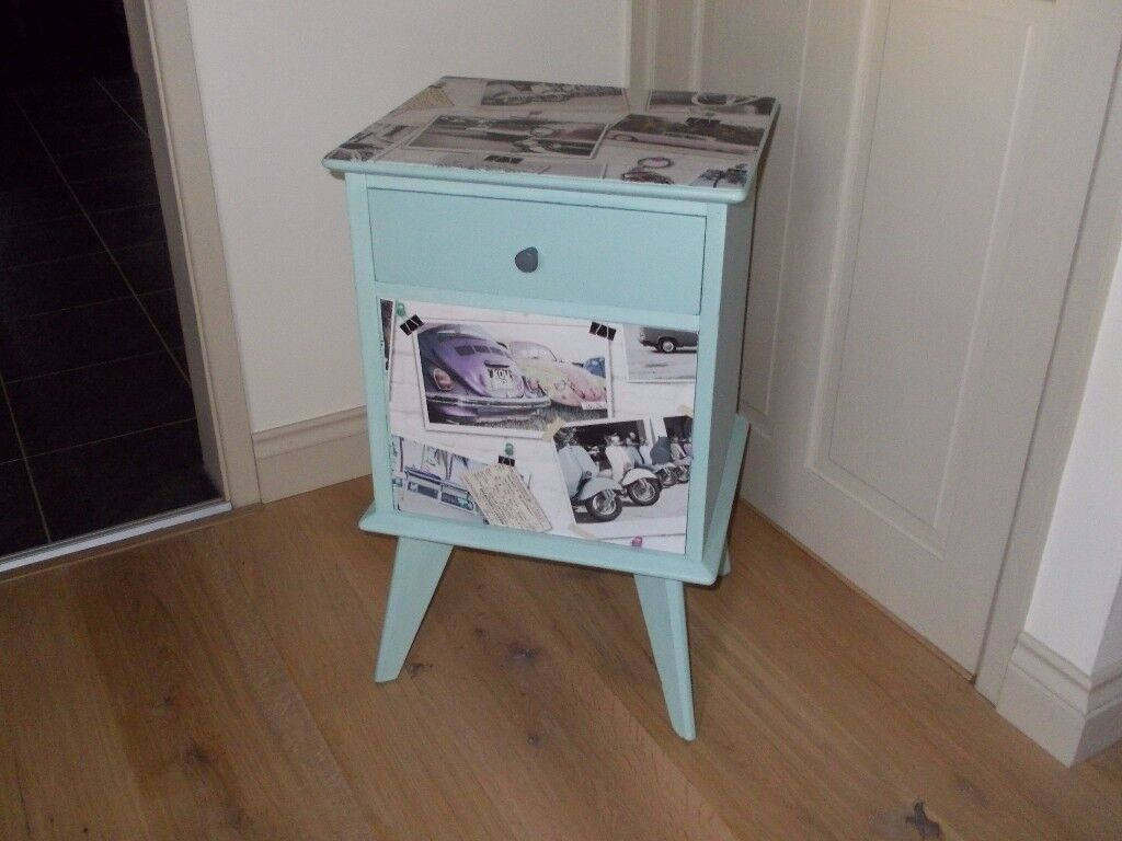 Shabby chic bedside table/cupboard/lamp table retro style