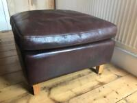Dark brown leather footstool from Habitat