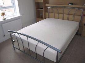Metal Double Bed Frame with Ergoflex Memory Foam Mattress