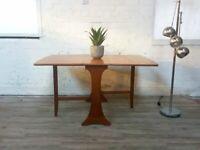 Mid Century G Plan Style Vintage Medium Teak Drop Leaf Retro Folding Extending Dining Table