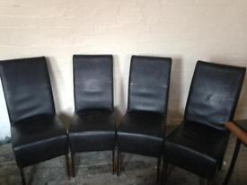 4 x brown leather chairs