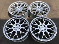 """Silver Calibre CCM 8.5x19"""" et45 5x112 One crack repaired another two have curb dings"""