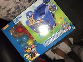 Brand new in box paw patrol ball pit