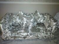 Silver Crushed Velvet Sofas 3 Seater & 2 Seater