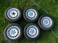 """Set of 5 BMW E36 325 Classic 15"""" Bottle top Alloy Wheels with tyres"""