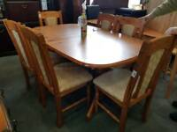 Pine extendeding table and six chairs