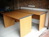 TWO OFFICE DESKS IN MID CHERRY WOOD