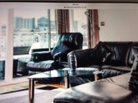 Electric reclining real leather chair