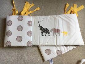 Mothercare Tusk Cot Bumper, Cushion and Cot Pockets