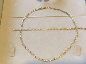 18k Tricolour Gold Necklace and Bracelet