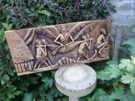 AFRICAN CARVED WOODEN PLAQUE, SUPERBLY CARVED. EXCELLENT CONDITION. 40CM X 95CM