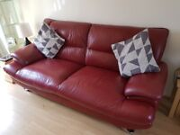 Reids Dark Red Leather 3&2 seater sofa excellent condition no cracks or breaks £250 CANNOT DELIVER