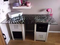 glass desks, tables IKEA