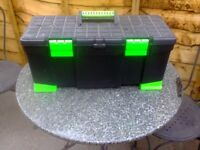 This Stanley toolbox is 56cm wide, 24.5 high and 23.5 cm deep. ,