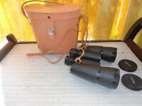 Vintage Revue Binoculars Light Tan Leather case included and lens caps