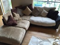 Leather frame Corner suite with scatter cushions