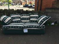 Green fabric sofa with 2 armchairs
