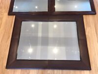 Large Mirrors Leather Wooden x3 Good Condition