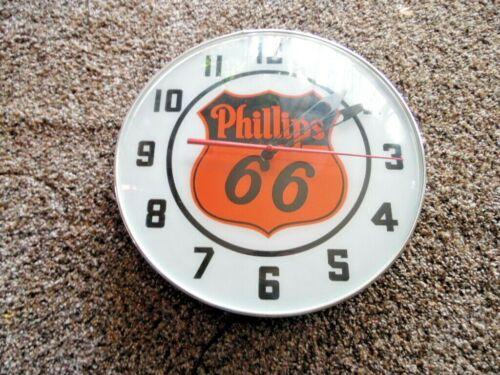 VINTAGE PHILLIPS 66  (ORANGE) ADVERTISING CLOCK -