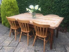 Antique 8 seater dining table FARMHOUSE solid oak wood HUGE