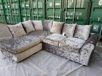 1 DAY SALE!!! NEW Designer Silver Crushed Velvet Chaise Corner Sofa DELUVERY AVAILABLE