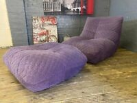 Designer Purple fabric lounger chair + footstool nice stylish very comfy free delivery