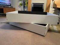 Storage boxes x 2 (wheeled) black/white