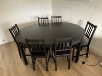 Extendable Dining Room Table - Black - 6 Chairs Included - Excellent Condition