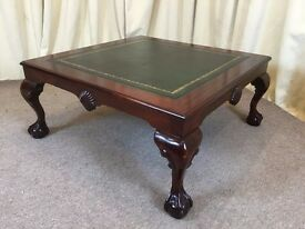 Large Leather Top Mahogany Square Coffee Table With Ball & Claw Feet