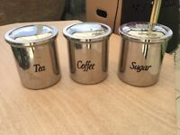 Coffee, tea, sugar caddy set