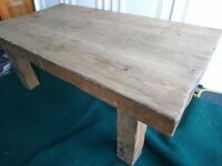CHUNKY SOLID OAK COFFEE TABLE/ BENCH