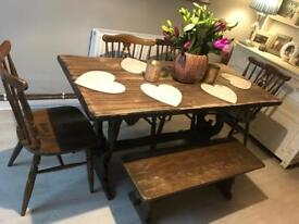 Solid oak Rectory dining table 4 chairs and bench
