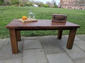 EXTRA LARGE rustic reclaimed wooden joist farmhouse table. Dining/kitchen.