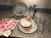 Kitchen Items (Dinner Set, Cutlery, Placemats & Glasses)