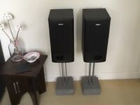 2 Sony bookshelf speakers with stands