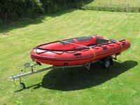 Mercury 4.7m Inflatable. Unused. New 2015. With unused trailer . Aluminium deck. Emergency paddles