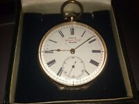 """KAY'S """"PERFECTION"""" LEVER 14K gold pocket watch"""