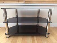 Black Glass Chrome TV Stand