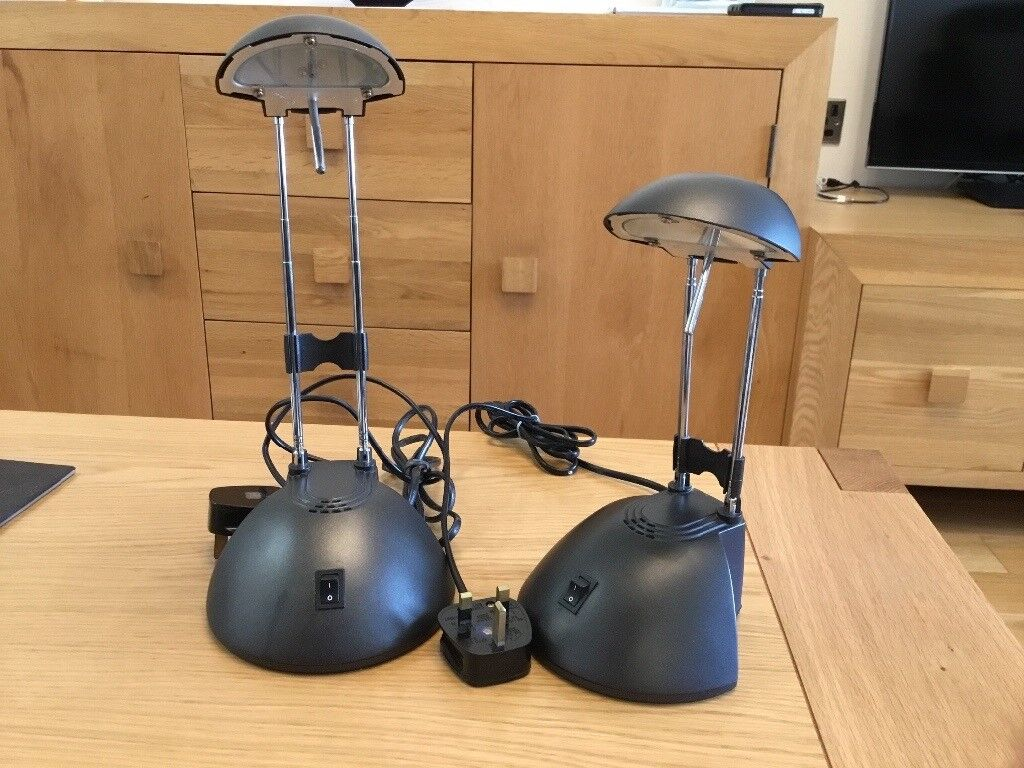 Bedside reading lights. Dark grey. As new condition