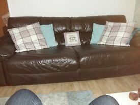Dark Brown Large Leather Sofa