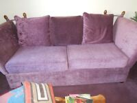 Fabulous Knole large 3 seater sofa, oversize chair & storage footstool, mulberry, by Kim Johnson