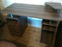 Computer Desk with shelves, cupboard and drawers in dark walnut effect