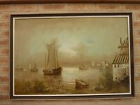 Large Beautiful Nautical Sailboat Original Painting On Canvas