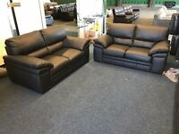 FAMOUS STORE BLACK LEATHER 2 AND 2 SEATER SOFA SET TWO PLUS DESIGNER COUCH CHAIR FREE DELIVERY