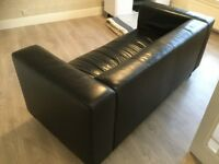 Sofa, black leather effect. 2/3 seater